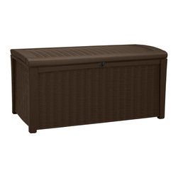Keter - Keter 211359 Borneo Rattan 110 Gallon Deck Box Multicolor - 211359 - Shop for Sheds and Storage from Hayneedle.com! Add seating and storage space to your patio with the beautiful Keter 211359 Borneo 110 Gallon Deck Box. Made from strong durable and weather-resistant plastic this storage bench is UV-protected and will not rust dent or peel over time. You'll love its beautiful rattan style weave and a warm dark brown color which matches almost any decor. Its lockable design helps to keep your items secure while its design allows for ventilation and keeping your items dry. Made with pistons for automatic opening you'll never have a problem opening this bench. Short on seating? Not a problem with this storage bench. It's made with a comfortable top and doubles as a bench that can seat up to two adults. A great addition to any yard or patio this storage bench will be a part of your home for years. Additional Features Exterior dimensions: 51W x 27.6D x 24.6H in. Interior dimensions: 45L x 23.4D x 21.3H in. 110-gallon capacity Lockable design keeps your items secure Keeps contents dry and ventilated Pistons for easy automatic opening Warm dark brown color matches any decor Doubles as patio seating Can seat up to 2 adults Clean with mild soap and water Easy to assemble About KeterFor over 60 years Keter Plastic has proven its commitment to innovation quality and design by continually meeting changing needs and trends. Keter's product range reaches a consumer base across the world focusing on outdoor furniture and storage with a commitment to the environment.