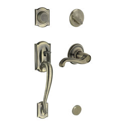 Schlage - Camelot Handleset w Flair Interior Lever Anti - Choose Orientation: Right HandManufacturer SKU: F93 CAM 609 FLA LH. Handle Type: Handleset. Dummy function includes a handleset grip, interrior knob or lever and non-functioning deadbolt; does not lock. Patented adjustable through-bolt allows easy installation; retrofits existing doors. Shown for left handed doors. Limited lifetime mechanical and finish warranty. Coordinate with other flair antique brass products. High quality materials and construction used for a longer life and brilliant finish. Designed for standard door prep (fits existing pre-drilled holes). Universal latch adjusts to fit 2-3/8 In. or 2-3/4 In.. Fits 1-3/8 In. to 1-3/4 In. wood or metal doors. Finish: Antique Brass. 2.9 in. L x 3 in. W x 12.9 in. H (5.2 lbs)