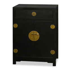 China Furniture and Arts - Elmwood Ming Cabinet - A reproduction of a dowry trunk, this Ming Dynasty (1368-1644) style chest provides convenient and accessible storage for blankets, linens, or sweaters. Handcrafted of Elmwood with a hand-rubbed lacquer finish, it has one drawer and two doors with storage shelf inside. The polished cast-brass pull, and the center round plaque makes this chest seemingly simple and yet handsome. Fully assembled.
