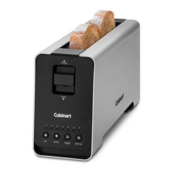 Cuisinart - Cuisinart CPT-2000 2-Slice Extruded Aluminum Long-Slot Toaster Multicolor - CPT- - Shop for Toasters from Hayneedle.com! Start your day with perfectly crispy golden toast prepared in the Cuisinart CPT-2000 2-Slice Extruded Aluminum Long-Slot Toaster 2. Featuring a motorized lift-and-lower control this durable anodized aluminum toaster has a single-slot design that fits two slices of bread side by side. Whether you like your toast lightly browned or extra crispy you'll get great results thanks to seven shade controls and LED indicators. This toaster has a compact space-efficient shape convenient cord wrap one-side bagel toasting option and defrost setting for frozen waffles pastries and breads. It measures 6W x 18.13D x 9H inches and comes with a three-year limited warranty.About CuisinartOne of the most recognized names in cookware and kitchen products Cuisinart first became popular when introduced to the public by culinary experts Julia Child and James Beard. In 1973 the Cuisinart food processor revolutionized the way we create fine food and healthy dishes and since that time Cuisinart has continued its path of innovation. Under management by the Conair Corporation since 1989 Cuisinart is a universally celebrated name in kitchens across the globe. With a full-service product line including bakeware blenders coffeemakers cookware countertop appliances kitchen tools and much much more Cuisinart products are preferred by chefs and loved by consumers for durability ease of use superior quality and style.