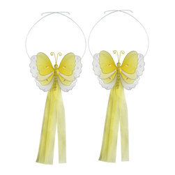 "Bugs-n-Blooms - Butterfly Tie Backs Yellow Multi-Layered Butterflies Tieback Pair Set Decoration - Window Curtains Holder Holders Tie Backs to Decorate for a Baby Nursery Bedroom, Girls Room Wall Decor - 5""W x 4""H Pink & White Multi-Layered Curtain Tieback Set Butterfly 2pc Pair - Beautiful window curtains tie backs for kids room decor, baby decoration, childrens decorations. Ideal for Baby Nursery Kids Bedroom Girls Room.  This gorgeous 3D butterfly tieback set is embellished with sequins, glitter and has a beaded body. This pretty butterfly decoration is made with a soft bendable wire frame & have color match trails of organza ribbons. Has 2 adjustable wires to wrap around the curtains; or simply remove & add your own ribbon for a personal & custom look. Visit our store for more great items. Additional styles are available in various colors, please see store for details. Please visit our store on 'How To Hang' for tips and suggestions. Please note: Sizes are approximate and are handmade and variances may occur. Price is for one pair (2 piece)"