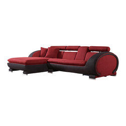VIG Furniture - 1088B Red & Black microfiber Fabric Left Facing Sectional Sofa - The 1088B sectional sofa will be a great addition for any modern themed living room decor. This sectional comes upholstered in a beautiful red and black microfiber fabric. High density foam is placed within the cushions for added comfort. The sectional features built-in adjustable headrests for that extra touch of relaxation. Attached to the bottom are rounded stainless steel feet with a polished finish.