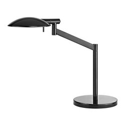 """Sonneman - Sonneman 7087 Perch 1 Light Xenon 17"""" Height Swing Arm Table Lamp - Sonneman 7087 Perch 1 Light Xenon 17"""" Height Swing Arm Table LampPerch Pharmacy Swing Arm Table Lamp has a boldly scaled shade: rotating on two axes, the slimly profiled silhouette radiates a broadly spread distribution of comfortable light for reading or concentrating on the task at hand.Sonneman 7087 Features:"""