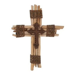 Benzara - Divine Customary Wood Metal Cross - Divine Customary Wood Metal Cross. Own or gift one and bring smile on others face. Some assembly may be required.