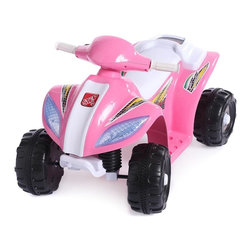 Fun Wheels - Fun Wheels Step-2 Mini Quad Battery Powered Riding Toy - Pink - 05PS2 - Shop for Tricycles and Riding Toys from Hayneedle.com! Your little girl will be able to make stops all around the house on the Fun Wheels Step-2 Mini Quad Battery Powered Riding Toy Pink. This little ATV has a little go button on the handlebars that moves it forward at a safe 1.5 mph. Powered by a rechargeable 6-volt battery. Playtime: 1-2 hours.