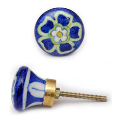 "Knobco - Single Flowers Knob, Blue Base With Green Flowers - Blue base with green flowers kitchen cabinet hardware knob from Jaipur, India. Unique, hand painted cabinet knobs for your kitchen cabinets. 1.5"" in diameter. Includes screws for installation."
