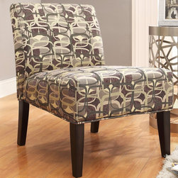 Inspire Q - INSPIRE Q Peterson Mod Geometric Slipper Chair - The Kayla Armless Lounge Chair Collection is a one-of-a-kind accent chair that is the perfect way to breathe new life to your home space. The ultra comfortable chair features a deep,wide seat,and is covered in a fun and elegant print upholstery.
