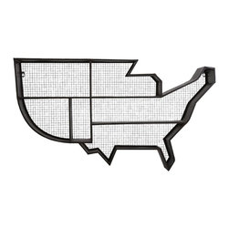 iMax - United States Wall Shelf - American ingenuity: A metal wall shelf with a wire mesh backboard offers storage from sea to shining sea.