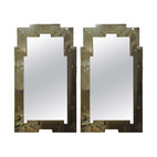 Pair of Venetian style Aged Skyscraper Mirrors - Fabulously glamorous, beautifully distressed, and Venetian style.