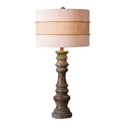 Uttermost Gerlind Wooden Table Lamp - Heavily distressed dark pecan finish with a light gray wash. Heavily distressed dark pecan finish with a light gray wash. The round hardback drum shade is a crisp beige linen fabric with light slubbing and a crude burlap wrap around the center.