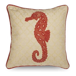 IMAX CORPORATION - Trice Seahorse Pillow - Featuring an embroidered seahorse over a subtle quatrefoil pattern, this 100% cotton pillow adds a playfulness to any coastal inspired room. Filled with sylconized polyfill. Find home furnishings, decor, and accessories from Posh Urban Furnishings. Beautiful, stylish furniture and decor that will brighten your home instantly. Shop modern, traditional, vintage, and world designs.