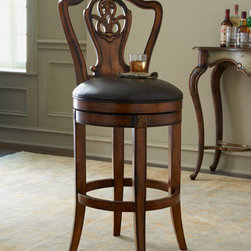 """Horchow - Ramona Counter Stool - Made of birch wood and wood composite with a light cherry finish. Carved back. Black top-grain leather seating. 21.5""""W x 22""""D x 41""""T. Imported."""