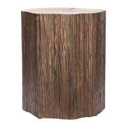 Safavieh Bali Brown End Table - Place this table that looks like a tree trunk between some wicker chairs as a place for cups of morning coffee or glasses of afternoon sweet tea.