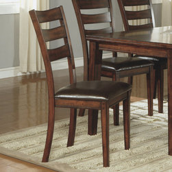 """Monarch - Dark Cherry 40""""H Side Chairs - Set of 2 - Notching and grooved details on the side chairs add character to this set. The padded dark cherry pieces are upholstered in leather look material and feature a slat back curved design for added comfort.;Dimensions: 19""""L x 19""""W x 40""""H"""