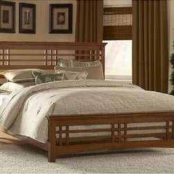 Avery - Avery King-size Bed - Simplicity accented by the horizontal and vertical lines of the Avery's headboard and footboard Mission-style bed began its popularity at the turn of the 20th century Bedroom furniture features an oak stain finish