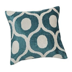 """Carmen Velvet Pillow Cover, 18"""" sq., Blue - Our modern interpretation of a simple 13th-century Turkish geometric design on lavish velvet brings new vitality to a room. Small variations in the tones of the red cover make each one slightly unique. 18"""" square Made of a rayon/cotton blend. Reverses to same. Hidden zipper closure. Insert sold separately; down blend or synthetic. Machine wash. Imported."""