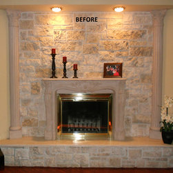 Fireplaces. Faux Marble Finish, Granite, etc. - Each fireplace are hand painted over concrete base or any other material. I apply several texture coats and several interlayers with stone sealer to get strong finish and durability. The top finish consist in at least five clear crystal sealer and hand polished to achieve a very real and smooth finish like polished real granite or marmol.