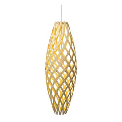 "David Trubridge Design - Hinaki LED Pendant by David Trubridge Design - Referencing the Maori identifier for fish traps (or ""hinaki"") the David Trubridge Design Hinaki LED Pendant is a perfected and polished take on a longstanding New Zealand artisan craft. Retaining the principal profile, Trubridge substitutes his favored material medium of sustainable bamboo for woven vines, elevating a humble staple of Maori life into a contemporary and eco-friendly light fixture. Ships assembled. Designed and manufactured in New Zealand, David Trubridge lighting and furniture designs are created to encourage sustainable living in a way that also nourishes people spiritually and culturally. This kind of ""cultural design"" marries technology with culture and nature to create a design style that's unique to our time, one that's both contemporary and timeless."