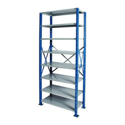 Hallowell - H-Post High Capacity Open Starter Unit w 8 Shelves (48 W x 18 D x 87 H (207.88 l - Size: 48 W x 18 D x 87 H (207.88 lbs.). Adjustable shelves. Side and back sway braces. Standard foot plate for strong and rigid anchor point. GREENGUARD Children and School certified. Warranty: One year. Made from rolled steel. Platinum and marine blue color. Made in USA. Assembly required. Shelving with 900 lb. shelf capacity:. 48 in. W x 18 in. D x 87 in. H (207.88 lbs.). 48 in. W x 18 in. D x 123 in. H (236 lbs.). 48 in. W x 24 in. D x 87 in. H (242.48 lbs.). 48 in. W x 24 in. D x 123 in. H (270.8 lbs.). Shelving with 1200 lb. shelf capacity:. 36 in. W x 18 in. D x 87 in. H (173.5 lbs.). 36 in. W x 18 in. D x 123 in. H (201.1 lbs.). Shelving with 1250 lb. shelf capacity:. 36 in. W x 24 in. D x 87 in. H (200.9 lbs.). 36 in. W x 24 in. D x 123 in. H (228.7 lbs.)Hallowell high capacity H-post shelving is ideal when additional post strength is required and is recommended for multi-level high-rise applications.