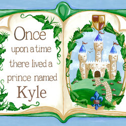 Royal Prince Nursery Wall Art by Sherri Blum - Once Upon a Time Storybook Prince nursery wall art for baby or canvas wall art for kids by Sherri Blum for Oopsy Daisy Art. Beautiful sentiment on kids canvas art that makes a perfect nursery wall art for your baby's nursery.  Available in blue, pink, lavender.  Any fairytale theme nursery for a royal baby's nursery room would be complete with our prince nursery art. By Sherri Blum, celebrity nursery designer and owner of Jack and Jill Boutique. Variety of sizes.