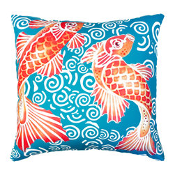 Divine Designs - Teal Koi Decorative Outdoor Pillow - This elegant koi pillow will add the perfect touch of serenity and zen to your backyard.