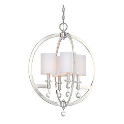 Frontgate - Chadbourn Round 4-Light Pendant - Provides ample illumination while making a brilliant accent for a dining room, hallway, bedroom, or foyer. Polished nickel finish. Eidolon Krystal accents. Takes four 60-watt candelabra bulbs. The Chadbourne Round 4-light Pendant features exquisite detailing of polished nickel and sparkling Eidolon Krystal. Mixing traditional components with contemporary design, this light has the right feel for the ultimate luxury home.  .  .  .  .