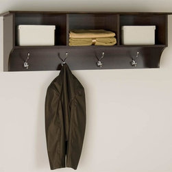 Prepac - Entryway Wall Mount Coat Rack w 3 Cubbies in - Includes easy to install two-piece hanging rail system. Warranty: Five years. Made from CARB-compliant, laminated composite woods. Made in North America . Assembly required. Internal: 14.25 in. W x 10 in. D x 8.75 in. H. Overall: 48 in. W x 11.5 in. D x 16.5 in. HKeep your gloves, hats, coats and jackets together where you need them with the Entryway Cubbie Shelf. Perfect for any front hallway, mudroom or home office, its three compartments have room for everything from mittens to schoolbooks. Four large hooks provide sturdy storage for your outerwear, scarves and tote bags. Install it easily with our innovative hanging rail system and get the versatile entryway piece you've been missing.