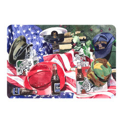 Caroline's Treasures - Barq's And Armed Forces Kitchen Or Bath Mat 20X30 - Kitchen or Bath COMFORT FLOOR MAT This mat is 20 inch by 30 inch.  Comfort Mat / Carpet / Rug that is Made and Printed in the USA. A foam cushion is attached to the bottom of the mat for comfort when standing. The mat has been permenantly dyed for moderate traffic. Durable and fade resistant. The back of the mat is rubber backed to keep the mat from slipping on a smooth floor. Use pressure and water from garden hose or power washer to clean the mat.  Vacuuming only with the hard wood floor setting, as to not pull up the knap of the felt.   Avoid soap or cleaner that produces suds when cleaning.  It will be difficult to get the suds out of the mat.