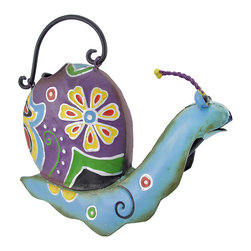 Zeckos - Folk Art Decorative Metal Snail Watering Can - This colorful watering can adds a whimsical accent to plant stands, gardens, flower beds, or to your porch or patio. Made of metal, it measures 9 inches tall, 13 inches long, 4 1/2 inches wide. It is shaped like a snail, and is hand painted with bright enamels. This cheerful accent looks great inside your home, as well, and makes a lovely gift for a friend.