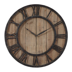 Uttermost - Powell Wooden Wall Clock - Aged wood panels accented with rustic dark bronze metal details and gold highlights. Quartz movement.
