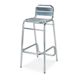 Source Outdoor - Bahamas Barstool with Footrest - Lightweight, very durable. Rustproof. Can be used in indoor and outdoor. Made from rustproof extra thick aluminum. Silver color. Warranty: Three year limited residential and one year commercial. No assembly required. 22 in. W x 18 in. D x 39 in. H (9 lbs.)They are manufactured for commercial use in high traffic areas. This is an excellent choice for your home or your business. Use them for restaurants, weddings or for any gathering. Designed to commercial specifications for resorts, hotels and the discerning homeowner. Ideal for indoor or outdoor patios, restaurants, cafes, weddings or for any gathering.