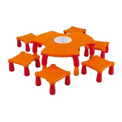 Wesco Chameleon Table and 6 Stools - About WESCOFor more than 30 years, WESCO has been proud to be a leader in children's developmental products. WESCO specializes in products from preschool products, sport and motor skills, soft furniture, sand and water tables, to playground equipment; educational toys, soft play equipment, and child play mats. WESCO products are fire retardant, easy to clean, extra-safe, and provide the upmost in fun and learning equipment combined in one.