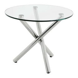 Eichholtz Oroa - Side Table Corsica Round, Polished Steel and Glass - Polished stainless steel and clear glass