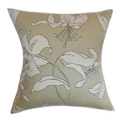 """The Pillow Collection - Elorza Floral Pillow Khaki 20"""" x 20"""" - Subtle and muted, this throw pillow warms up your interiors with its interesting print. The floral pattern in this square pillow provides a visual element to the khaki-hued background. Decorate this accent pillow on your sofa, bed or chairs to make it more comfortable and stylish. This 20"""" pillow is made from 100% high-quality cotton fabric. Combine this pillow with solids and other patterns like toiles, ikats and more. Hidden zipper closure for easy cover removal.  Knife edge finish on all four sides.  Reversible pillow with the same fabric on the back side.  Spot cleaning suggested."""