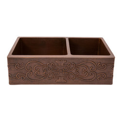 """Premier Copper Products - 33"""" Hammered Copper Kitchen Apron 60/40 Double Basin Sink with Scroll Design - BRAND: Premier Copper Products"""