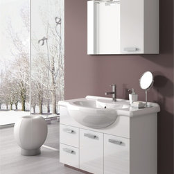 ACF - 32 Inch Bathroom Vanity Set - Set Includes: . Vanity Cabinet (2 doors, 2 drawers). Fitted ceramic sink (33.9 inch x 19.3 inch ). Mirror (W 23.6 inch x H 21.8 inch ). Short Storage Cabinet (W 9.8 inch x H 21.8 inch x D 8.2 inch ). Vanity light. Vanity Set Features:. Vanity cabinet made of engineered wood. Cabinet features waterproof panels. Available in Glossy White, Glossy Red, Glossy Anthracite. Cabinet features 2 doors and 2 soft-closing drawers. Faucet not included. Perfect for modern bathrooms. Made and designed in Italy. Includes manufacturer 5 year warranty.