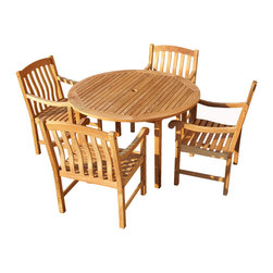 SEI - 5 Piece Teak Dining Set - Enjoy the comfort - simple good looks - and durability of this patio set. Complete with a round table and four sturdy chairs this set is just the right size for a patio. Since the wood is constructed of solid teakwood that is both water and weather resistant the set will remain structurally sound for many years to come.