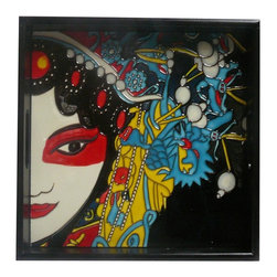 Golden Lotus - Chinese Porcelain Tile Oriental Lady Theme Wooden Tray - This is a wooden tray has a porcelain tile with colorful oriental lady scenery. Not flat surface.
