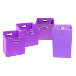 Color Pop Solid Purple Organization Bundle- 3 Storage Bins, 1 Laundry Hamper - You'll get your kids in on the organization chart when you offer them these canvas storage bins for their toys and blankets. The matching laundry hamper helps them keep dirty clothes off the floor and in the bin.
