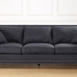 None - Camden Grey Linen Sofa - Traditional comfort meets modern style with the Camden Sofa from TOV Furniture. Camden was designed to optimize comfort: a high backrest,comfortable cushioning and suitable seat height maximize relaxation.