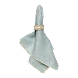 Josephine Linen Cotton Crossweave Napkin - Pistachio - Cool green cotton-linen blend edged in dainty contrasting scallops hints at careful handiwork and traditional taste. The Josephine Crossweave Napkin in Pistachio is ideal for bringing a flattering low-key accent color into a table setting, where its subtle weave and edge adornment are delicately tactile, implying a personal touch in your decorative arrangements.