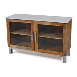 "Go Home Ltd - Wooster Two Door Cabinet - Dimensions: 48"" L x 17"" W x 31"" H Materials: Wood, Glass and Metal 11"" Space Between Shelves"