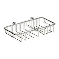 StilHaus - Chrome Wire Soap or Sponge Holder - Contemporary style wall mounted rectangular wire soap or sponge holder. Shower basket made out of brass with a polished chrome finish. Shower organizer mounts to bathroom wall with screws. Made in Italy by StilHaus. Wall wire rectangular soap or sponge ho