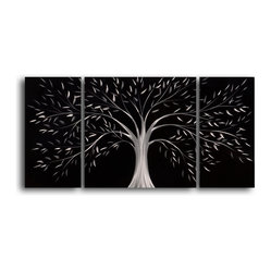 """Moonlit gothic tree"" 3 Piece Contemporary Handmade Metal Wall Art Set - Moonlit magic dwells beneath this silvery tree. This triptych of images creates a silhouette of simple figures and delicate whimsy. Hand sanding produces a dazzling holographic effect, sure to sparkle on your walls."
