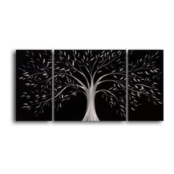My Art Outlet - Metal Wall Art Decor Abstract Contemporary Modern Sculpture Moonlit gothic tree - Moonlit magic dwells beneath this silvery tree. This triptych of images creates a silhouette of simple figures and delicate whimsy. Hand sanding produces a dazzling holographic effect, sure to sparkle on your walls.
