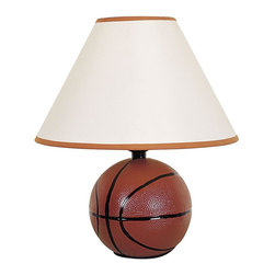 ORE International - 12 in. Table Lamp with Ceramic Basketball Bas - Requires 1 standard 60W bulb (bulb not included). UL listed. Orange trim on top and bottom of the shades. White linen shade. 10 in. L x 10 in. W x 12 in. H (3 lbs.)Sporty basketball shape is perfect for an athletic-theme room. Dimpled to look like an official basketball, this sporty accent lamp will be a spirited addition to any sports fan's decor. The lamp would be perfect in a rec room or children's bedroom.