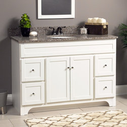"""Worthington 48"""" Vanity in White - The Worthington white bathroom vanity collection is available in sizes 24 inch, 30 inch, 36 inch, and 48 inch. Each vanity is 34 inches tall and features satin nickel exterior hardware"""