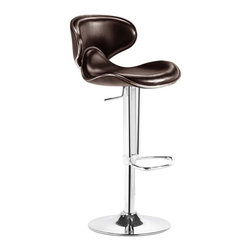 Zuo Modern - Fly Barstool in Espresso - Adjustable seat height. Leatherette seat. Hydraulic piston. Chrome plated foot rest. Steel base. No assembly required. 18 in. L x 15.7 in. W x 32 - 41 in. H (23 lbs.). Seat Height: 21 - 30 in.. Seat Depth: 14 in.With high back and plush seat, the Fly has the most comfort for a barstool.Zuo Modern Fly Bar Chair Espresso