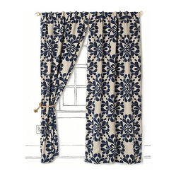 Coqo Floral Curtain, Navy