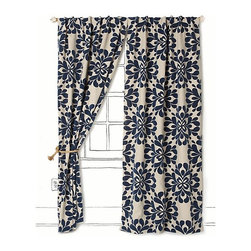 Coqo Floral Curtain, Navy - The flocked velvet flower pattern gives these linen curtains a luxurious boost.